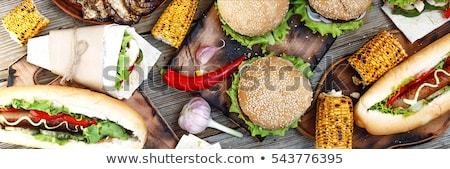 Various hot dog and glass of beer Stock photo © karandaev