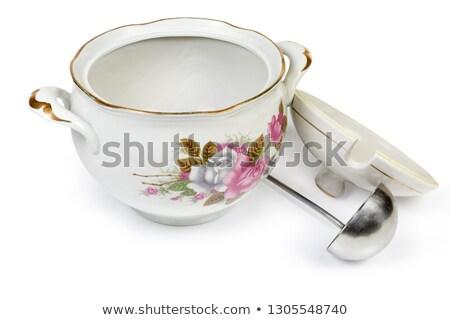 Witte soep pollepel oude selectieve aandacht home Stockfoto © Melnyk