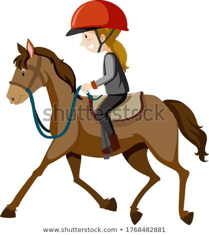 Young lady wearing helmet or rider riding a horse cartoon isolat Stock photo © bluering