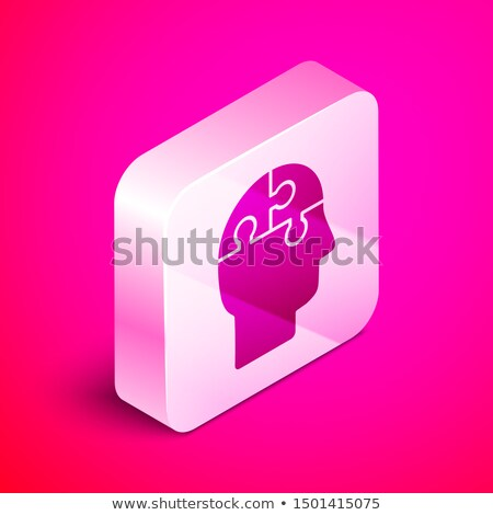 Human Brain In Man Silhouette Mind isometric icon Stock photo © pikepicture