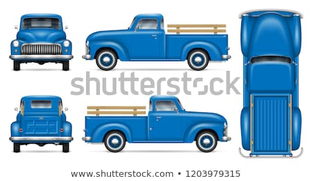 White car vector template on white background. American pickup isolated. Automobile side view Stock photo © robuart