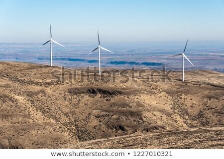 Szélfarm széles látószögű lövés hegy terjedelem zöld Stock fotó © swatchandsoda