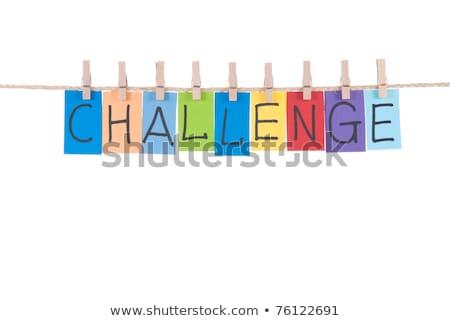 Kihívás szavak fából készült szeg papír kártya Stock fotó © Ansonstock