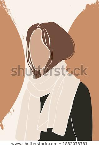 belo · outono · meninas · vetor · conjunto - foto stock © smeagorl