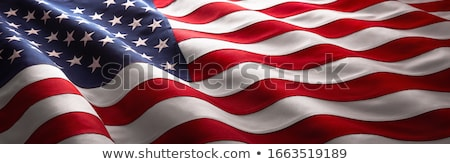 ストックフォト: アメリカンフラグ · 3dのレンダリング · 反射 · ビジネス · 建物 · 背景