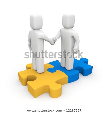 erős · vs · gyenge · erő · gyengeség · puzzle - stock fotó © nasirkhan