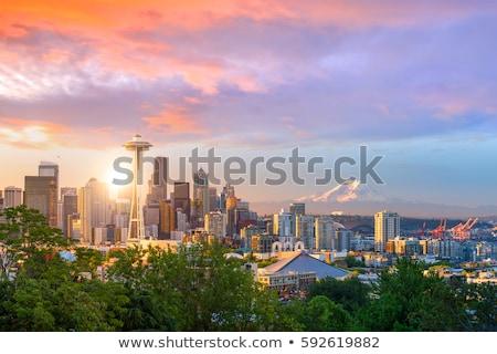 Cityscape Seattle przestrzeni igły niebo wody Zdjęcia stock © AndreyKr
