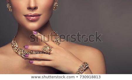 Gümüş bilezik taşlar yalıtılmış beyaz sevmek Stok fotoğraf © RuslanOmega