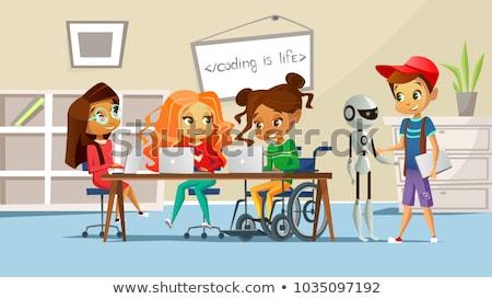 инвалидов · подростков · друга · компьютер · мальчика - Сток-фото © lisafx