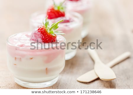 fresh tasty strawberry yoghurt shake dessert on table stock photo © juniart