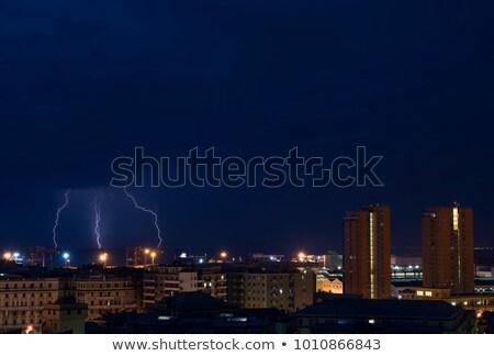 rayo · Italia · mar · puerto · violento · tormenta - foto stock © antonio-s