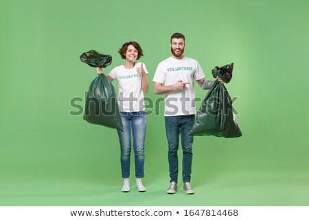 Paar recycling papier groene portret jonge Stockfoto © photography33