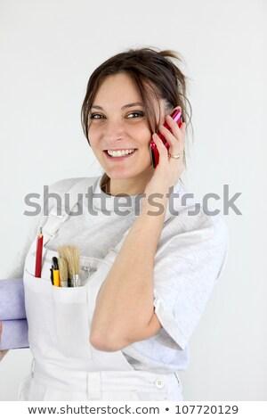kézműves · festő · tart · tapéta · ecset · munka - stock fotó © photography33