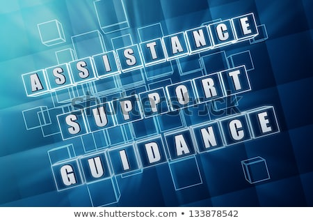 assistance, support, guidance in blue glass cubes Stock photo © marinini