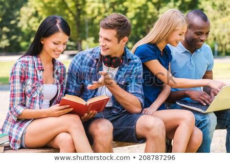 Stockfoto: Middelbare · school · studenten · groep · vergadering · samen · klas