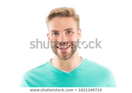Knappe man glimlachend briljant tanden Stockfoto © carbouval