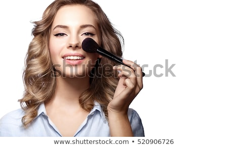 pretty woman with cosmetic brushes white background stock photo © nobilior