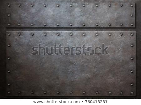 Metallic Frame With Screws On Abstract Metallic Background. Stock photo © HelenStock
