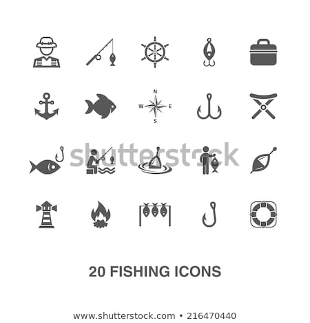 Pescaria ícones vetor conjunto estilizado Foto stock © vectorpro