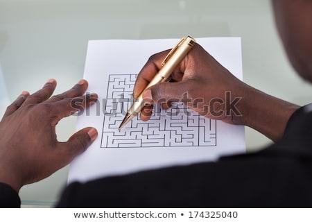 Zakenman tekening pleinen pijlen business Stockfoto © dolgachov