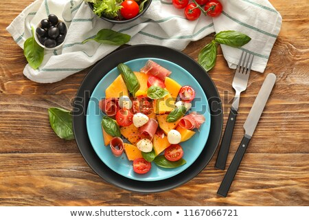 salade · prosciutto · voedsel · olie · bal · diner - stockfoto © M-studio