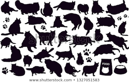Yağ kedi siluet vektör toplama siyah Stok fotoğraf © tiKkraf69