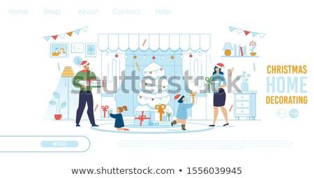 santa shopping girl with xmas ball vector illustration stock photo © carodi