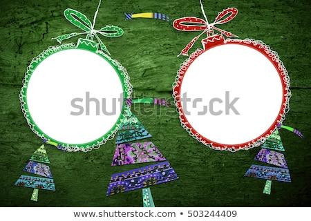 Christmas twee foto frames rustiek hobbelpaard Stockfoto © marimorena