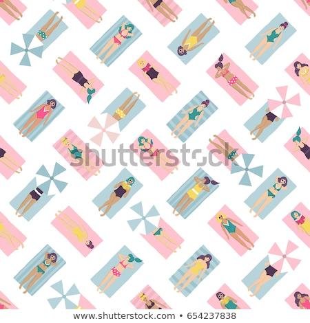 женщину Бикини Top пляжное полотенце портрет улыбающаяся женщина Сток-фото © AndreyPopov