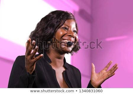 Zakenvrouw praten vrouwelijke spreker presentatie college Stockfoto © kasto