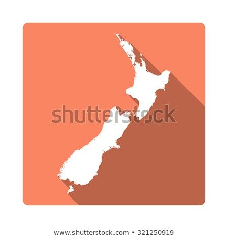 orange button with the image maps of new zealand stock photo © mayboro