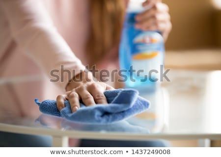 Kadın temizlik tablo bez insanlar Stok fotoğraf © dolgachov