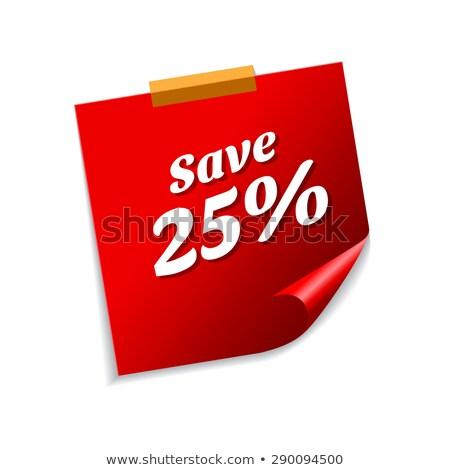 Salvare 25 cento rosso note adesive vettore Foto d'archivio © rizwanali3d