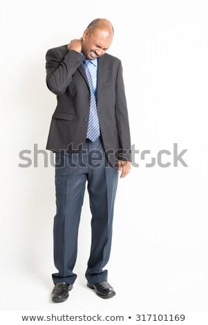 Volwassen indian zakenman schouderpijn Stockfoto © szefei