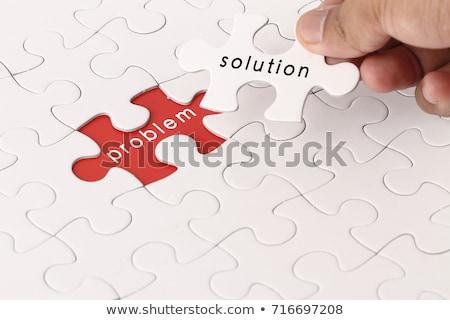 Oktatás szó puzzle férfi kezek üzlet Stock fotó © fuzzbones0