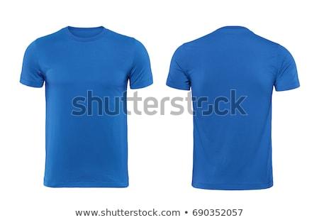 Zdjęcia stock: Niebieski · tshirt · odizolowany · biały · sportu · ciało