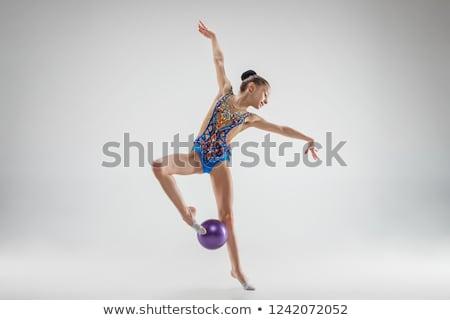ritmikus · tornász · testmozgás · labda · stúdió · gyönyörű - stock fotó © bezikus