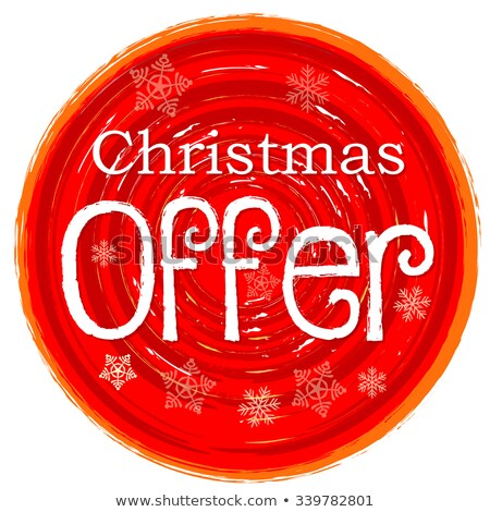 Christmas Offer On Circular Drawn Red Banner With Snowflakes Stockfoto © marinini