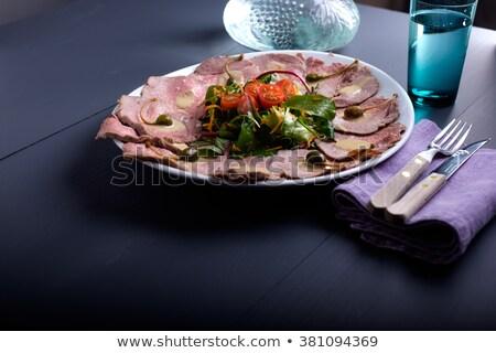 vitello tonnato on a serving plate with water Stock photo © phila54