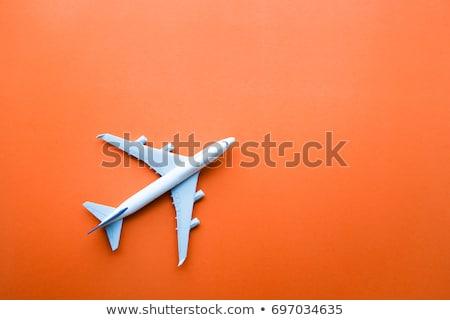 Színes repülőgépek illusztráció fehér kék bolygó Stock fotó © bluering