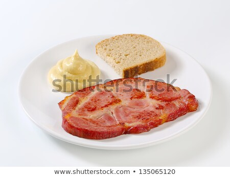 Stock photo: Smoked pork neck with bread and mustard