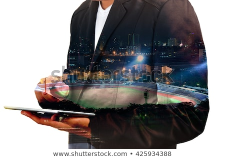 double exposure of business man and football stock photo © bank215