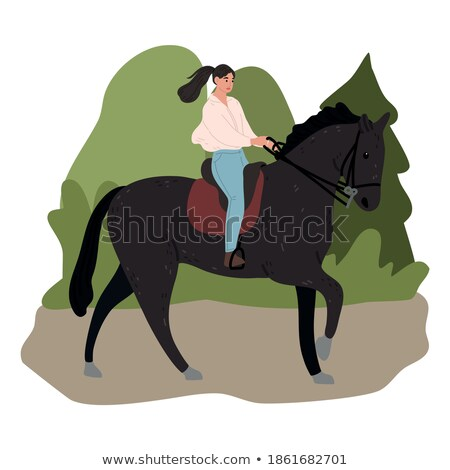 Happy woman cowgirl sitting and smiling on ranch Stock photo © deandrobot