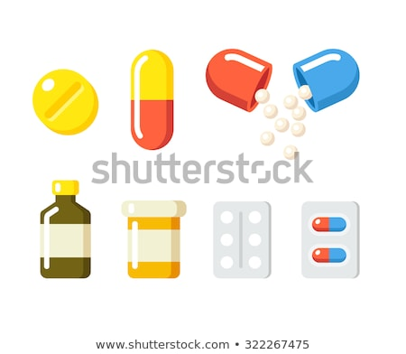 Gyógyszer doboz kapszulák illusztráció fehér fa Stock fotó © bluering