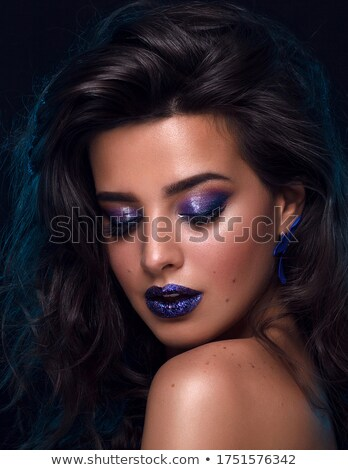 Beauty portrait of stylish young woman with shimmering makeup Stock photo © deandrobot