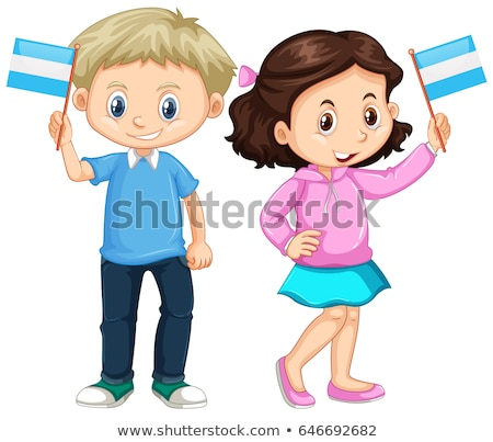 Menino menina bandeira sorrir crianças Foto stock © bluering