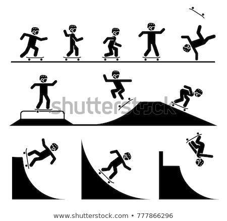 подростку · прыжки · батут · вектора · изолированный · иллюстрация - Сток-фото © olena