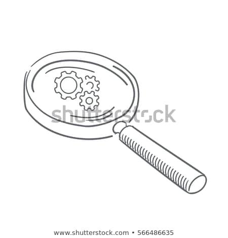 data processing through magnifying glass doodle design stock photo © tashatuvango