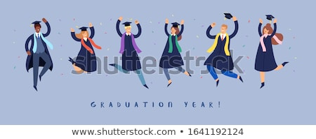 Certificate template with man in graduation gown Stock photo © bluering