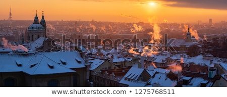 Prague - Spires of the Old Town on Cold Winter Morning Stock photo © courtyardpix